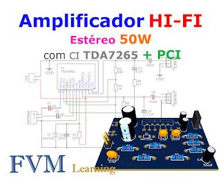 Amplificador HI-FI Estéreo 50W com CI TDA7265 + PCI