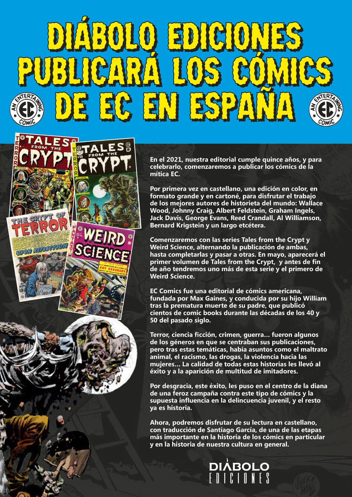 Diábolo Ediciones publicará en España los cómics de la EC