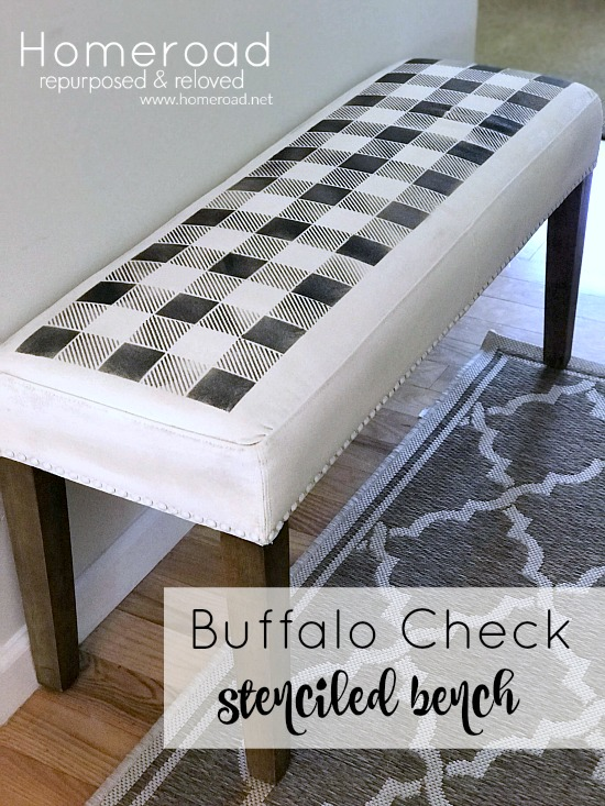 How to Paint a fabric bench with a buffalo plaid stencil