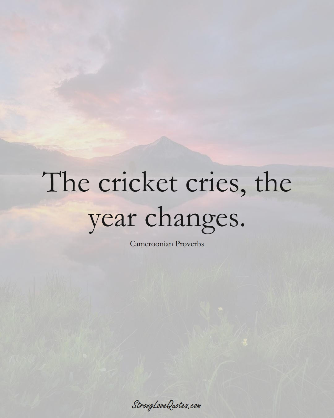 The cricket cries, the year changes. (Cameroonian Sayings);  #AfricanSayings