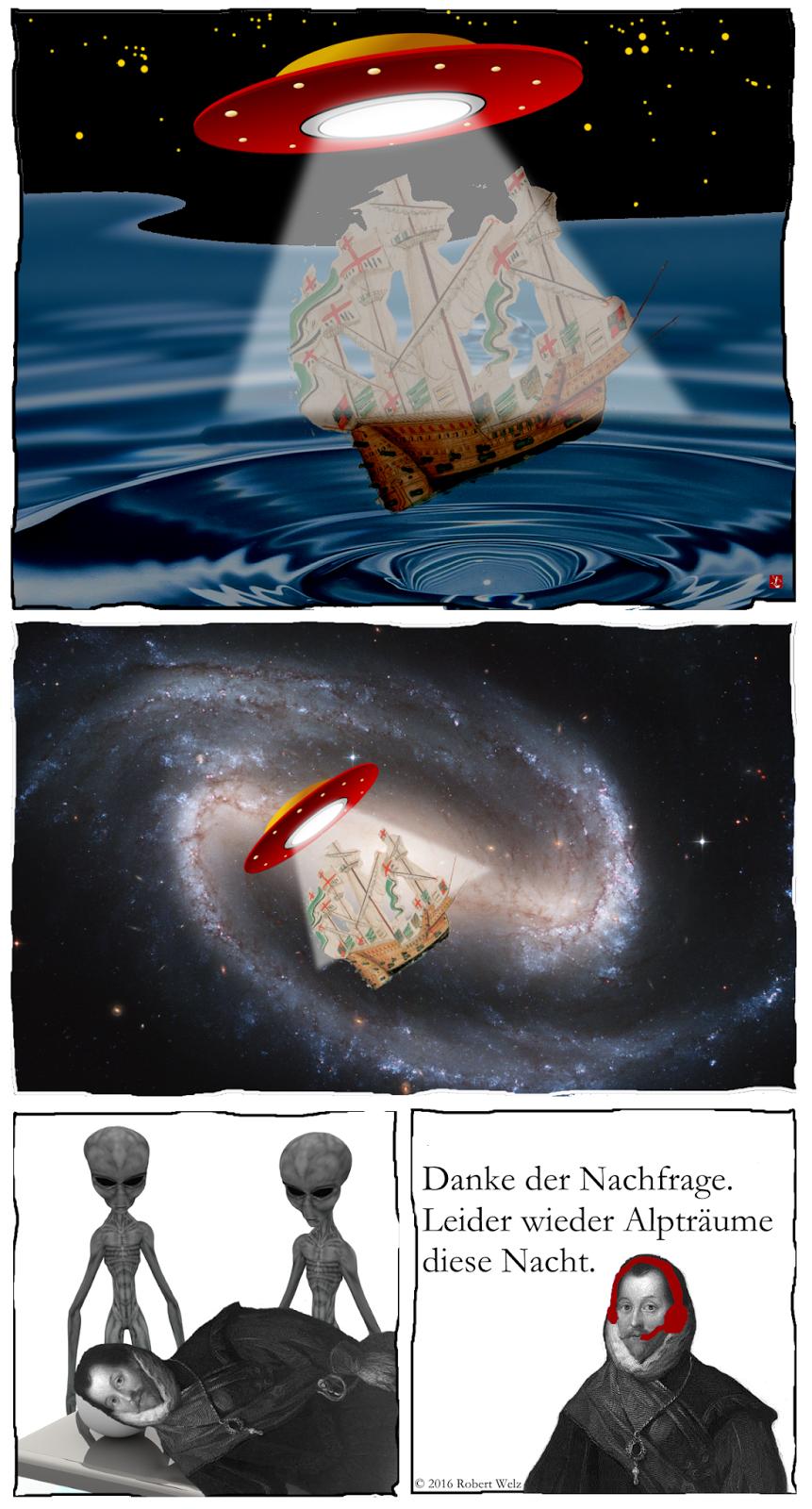 Science Fiction trifft Comedy. Mit Original Comic-Pirat. Wird das Segelschiff tatsächlich samt Kapitän & Besatzung von einem Ufo entführt? Oder gibt es eine andere Erklärung?