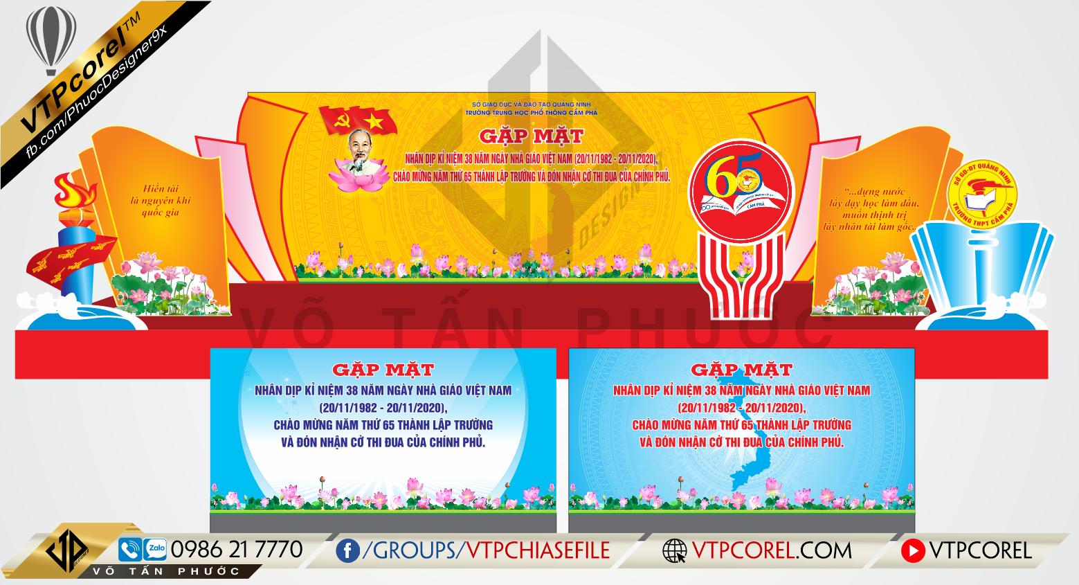 Trang trí sân khấu Văn nghệ ngày nhà giáo Việt Nam 20-11