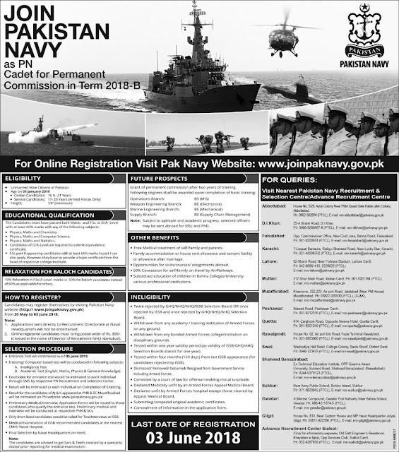 Pakistan Navy PN Cadet Permanent Commission 2018