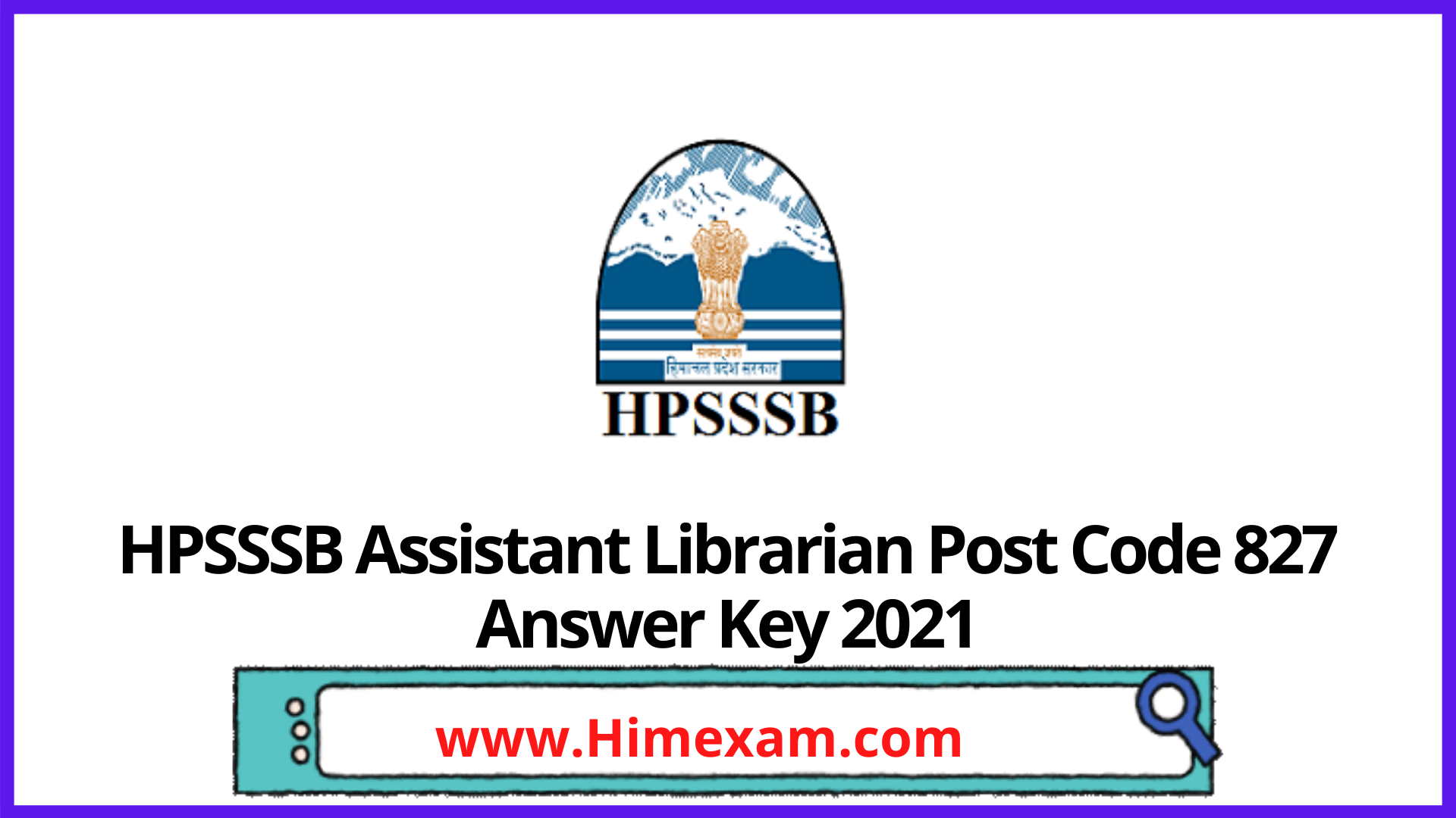 HPSSSB  Assistant Librarian Post Code 827 Answer Key 2021