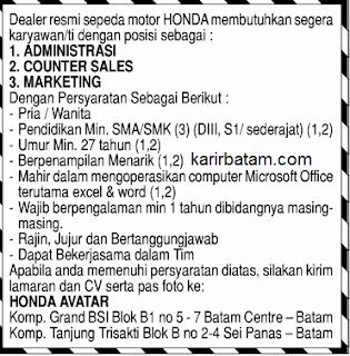 Lowongan Kerja PT. Honda Avatar