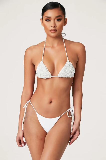 Arabella Pearl Tie Up Bikini Bottom White