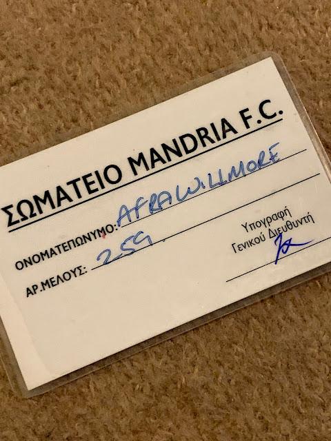 Mandria Football Club membership card