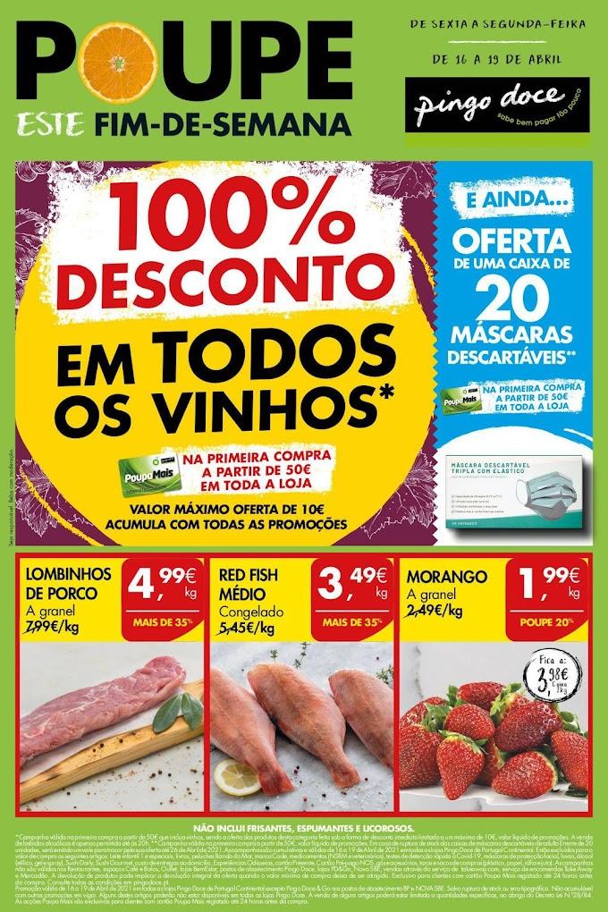 """Folheto PINGO DOCE """" Poupe este Fim de Semana""""  com produtos em promoção de 16 a 19 de abril"""