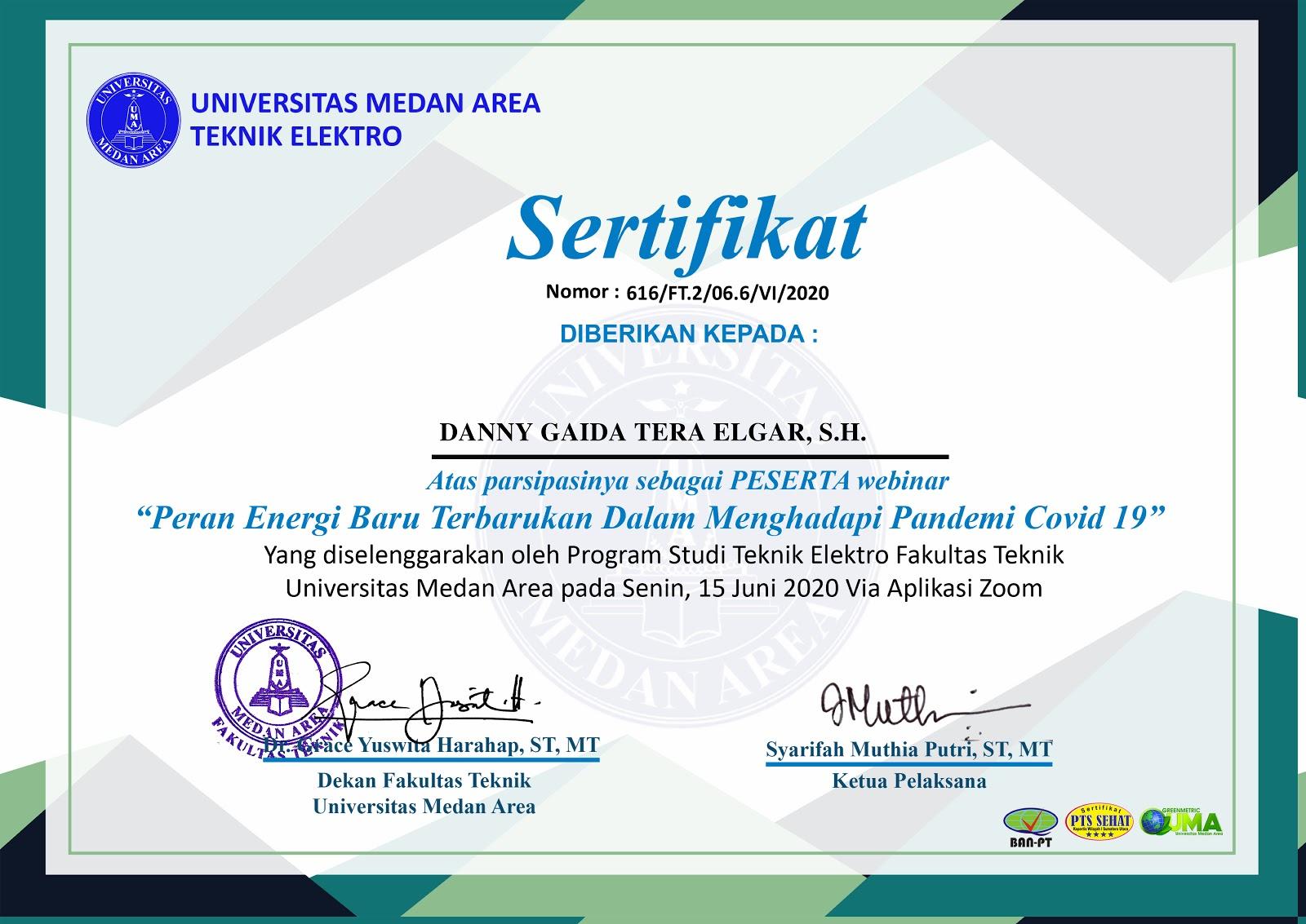 "Piagam Penghargaan Teknik Elektro Universitas Medan Area (UMA) ""Peran Energi Baru Terbarukan Dalam Menghadapi Pandemi COVID-19"" (Senin, 15 Juni 2020)"