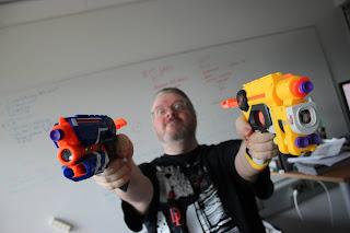 Mikko Rautalahti with nerf pistols