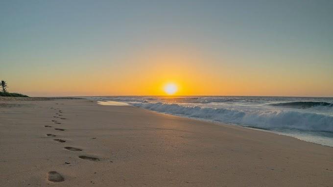 Pegadas na Areia da Praia Fundo para Celular