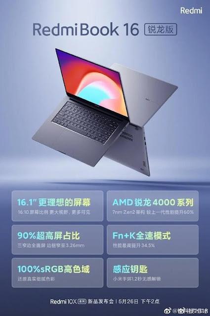 Gambar Resmi dan Spesifikasi Kunci RedmiBook 16 Ryzen Edition Keluar Sebelum Diluncurkan