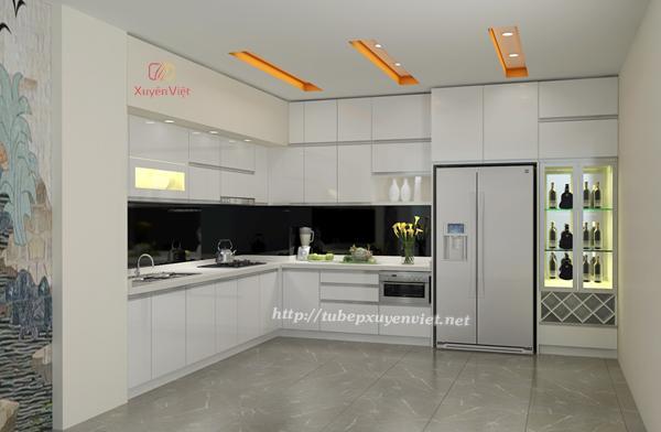 Mẫu tủ bếp đẹp chữ L màu trắng