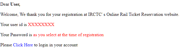 irctc registration welcome message