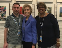 Chris Borawski with Connie Morella and a coworker
