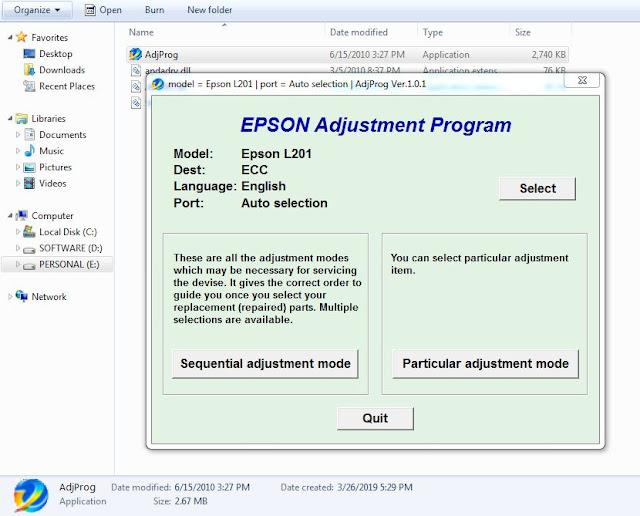 Epson L201 resetter