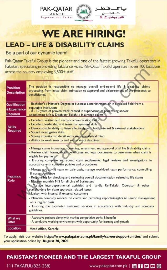 Qatar Takaful Group Jobs Lead Life & Disability Claims