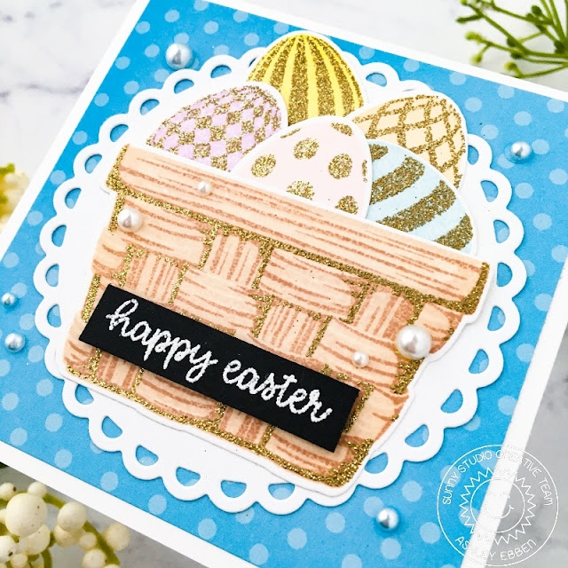 Sunny Studio Stamps: Layered Basket Eggs To Dye For Easter Card by Ashley Ebben