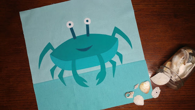 Crab quilt block with raw edge applique