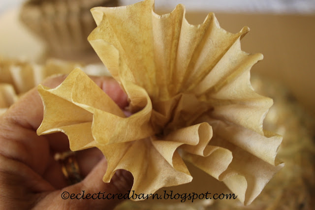 Eclectic Red Barn: Pushing the coffee filter bottom up to make a flower