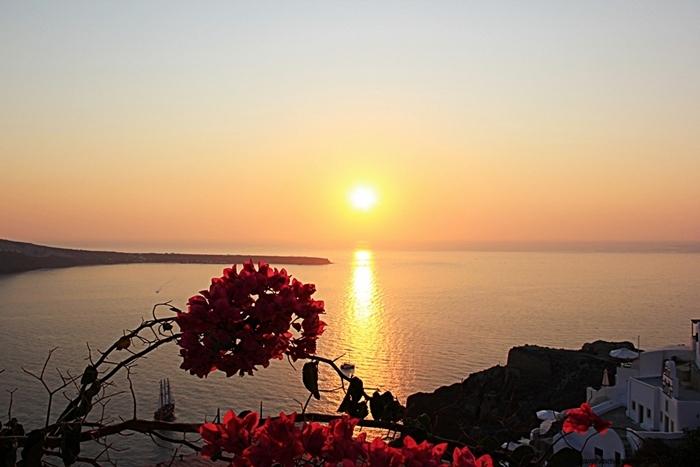 Santorini island famous sunset