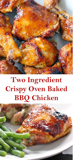Two Ingredient Crispy Oven Baked BBQ Chicken #TwoIngredient #Crispy #OvenBaked #BBQ #Chicken #BBQChicken #TwoIngredientCrispyOvenBakedBBQChicken