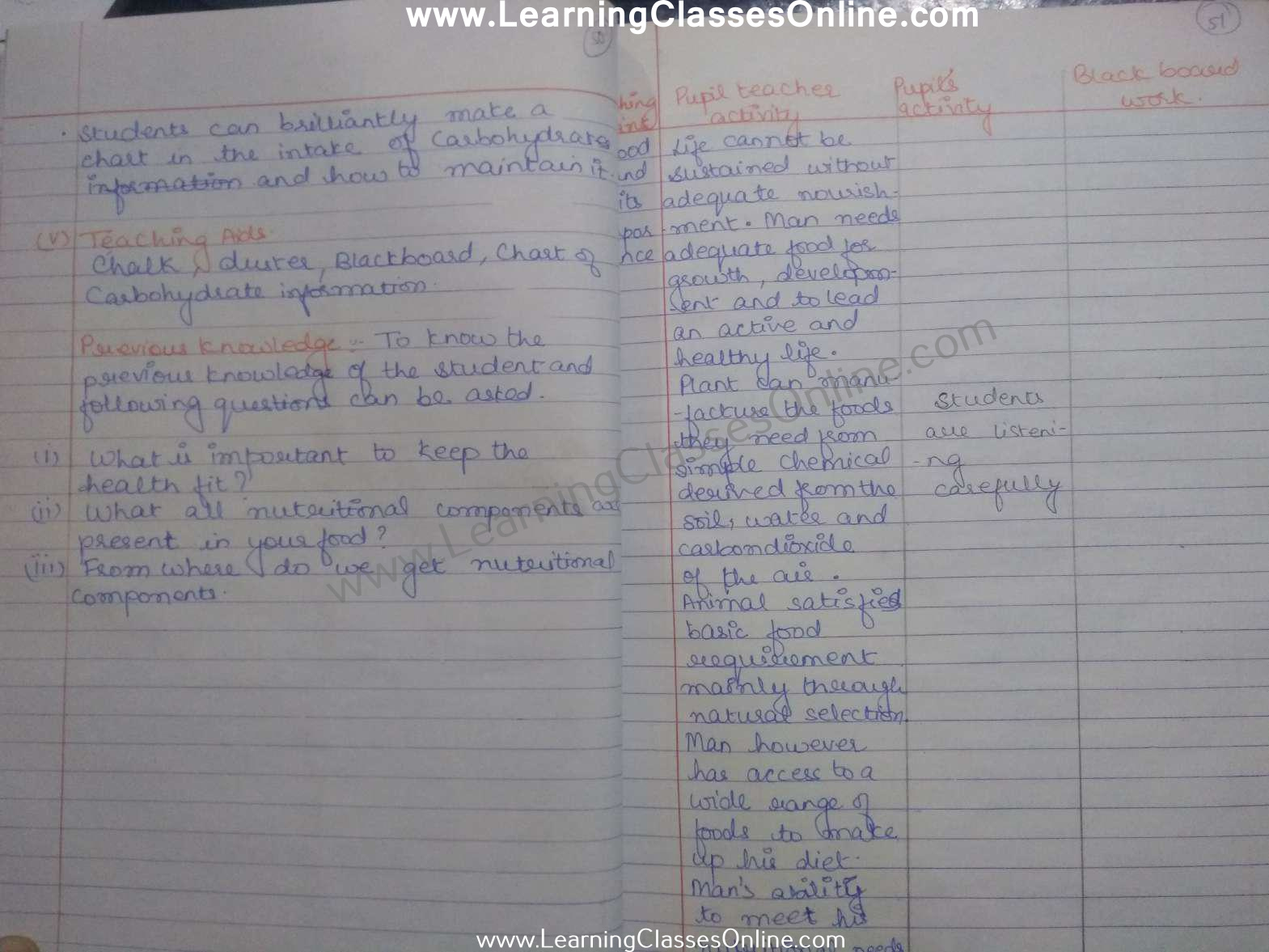 home science discussion lesson plan in english for b.ed