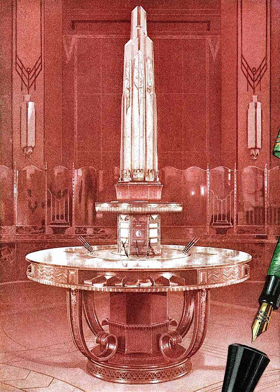 a 1930 bank island in an art deco illustration