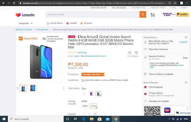 Redmi 9 Resmi Dijual Lazada Filipina xiaomiintro