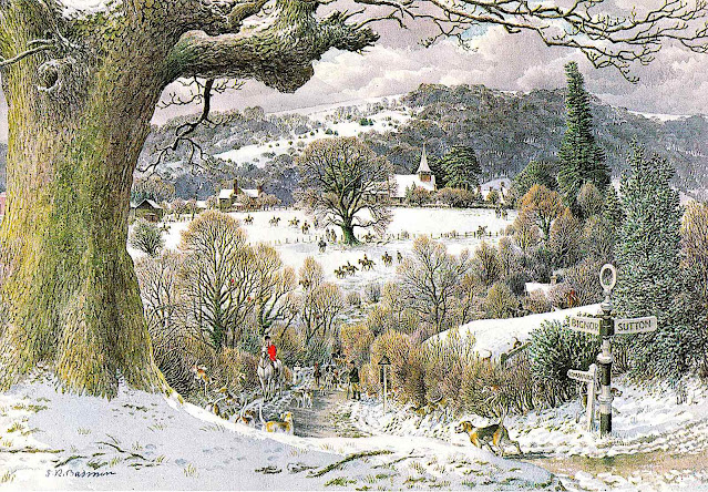 an S.R. Badmin illustration of a winter fox hunt in England