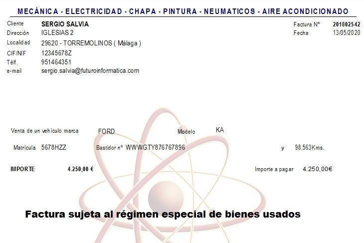 Ejemplo de una factura sujeta al régimen especial de bienes usados.