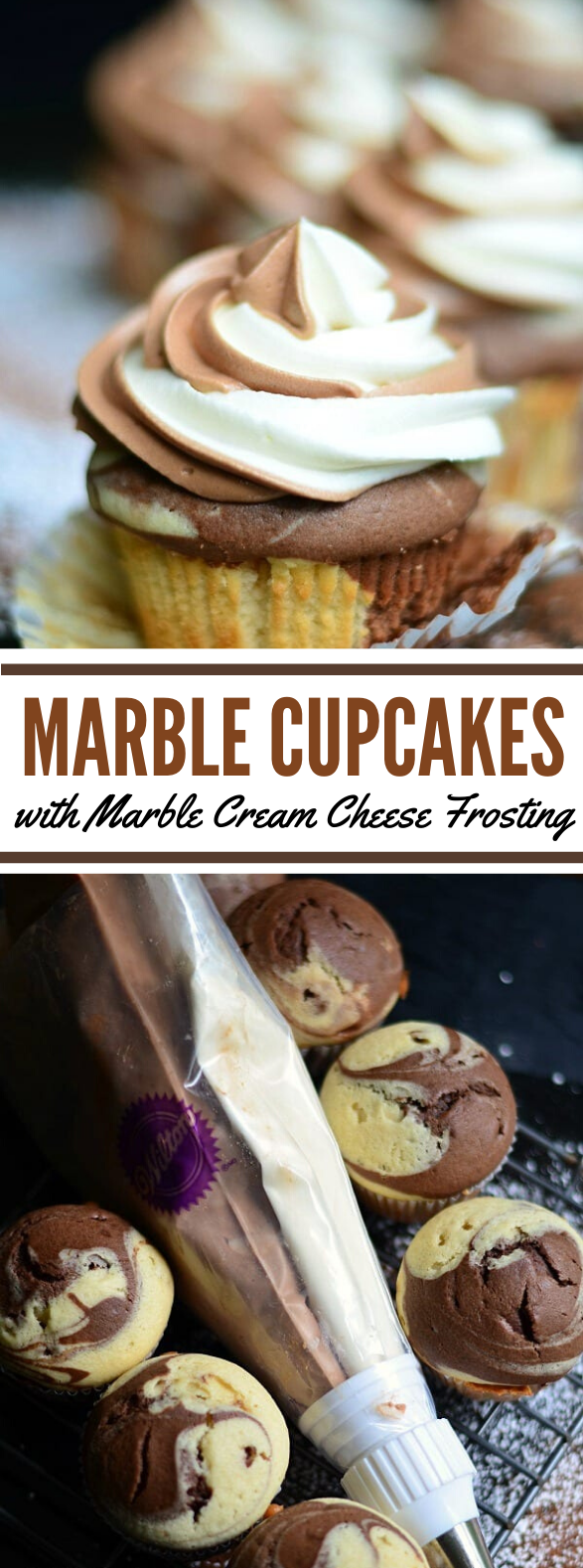 Marble Cupcakes with Marble Cream Cheese Frosting #desserts #cake