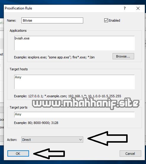 Setting proxifier untuk bitvise