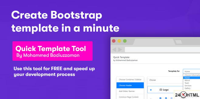 Tool that can create any html template in 1 minute