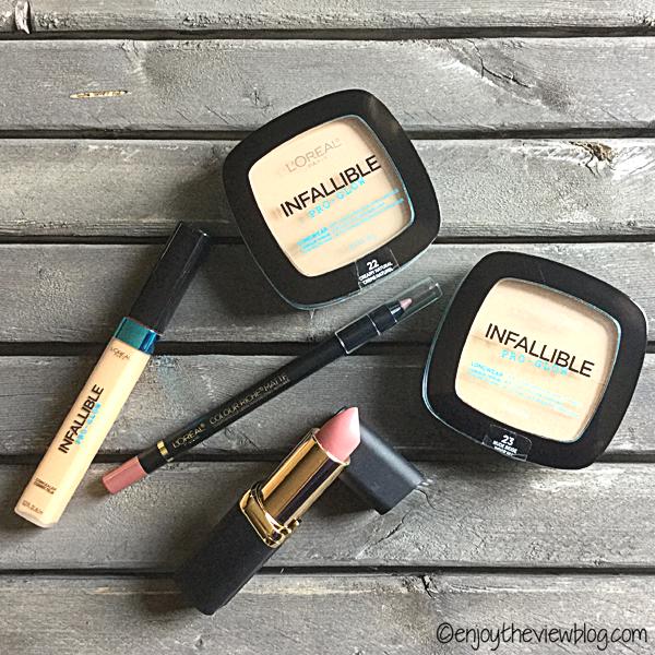 L'Oreal powder, concealer, lip pencil and lipstick
