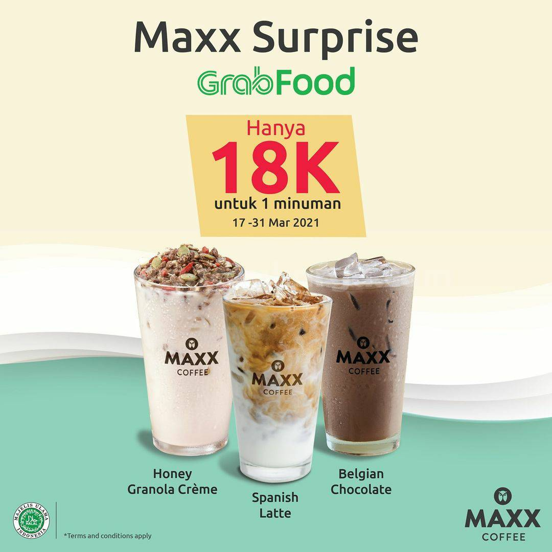 MAXX COFFEE Promo Surprise Minuman Hanya Rp.18.000 via GRABFOOD