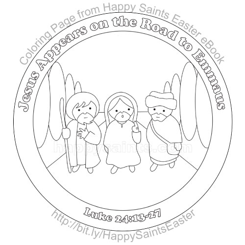 Happy Saints: Road to Emmaus (coloring page)