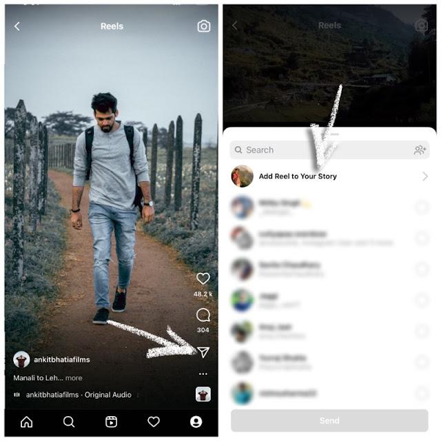 Add full length reel on Instagram story