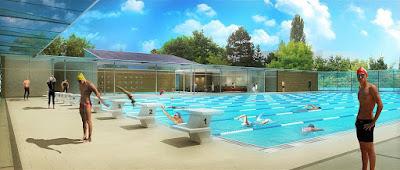 Perspective 3d piscine concours bassin olympique extérieur