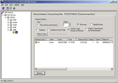 How to backup and restore MSSQL databases using IBM TDP for SQL GUI