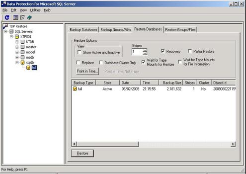 TD SQL GUI Restore