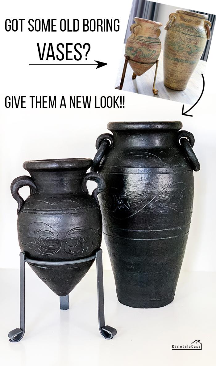 old vases painted black