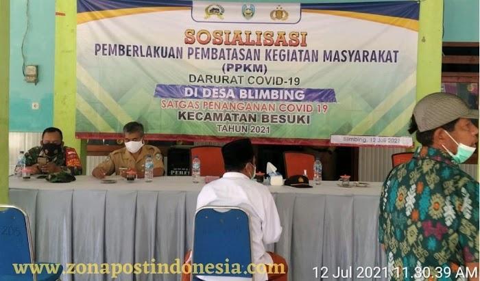 Satgas Covid-19 Kecamatan Besuki, Adakan Sosialisasi PPKM Darurat di Desa Blimbing