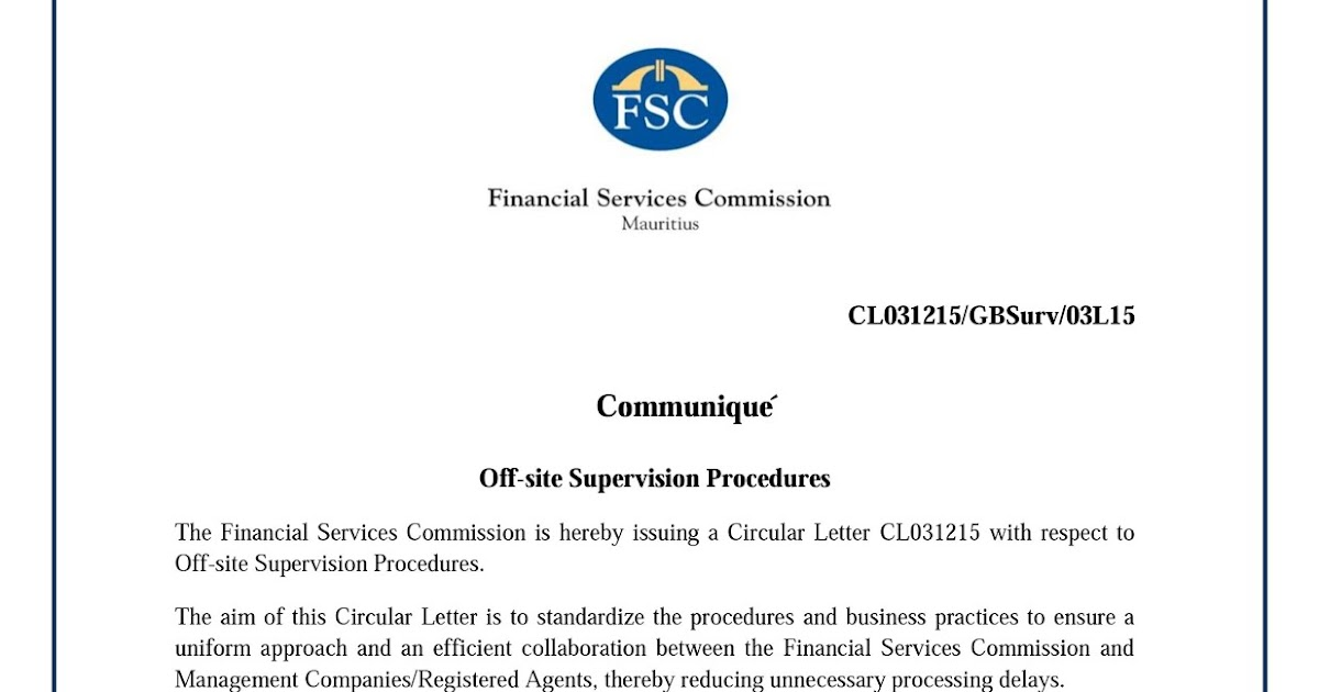 Amar Fsc Mauritius Issues Circular Letter On Off Site Supervision