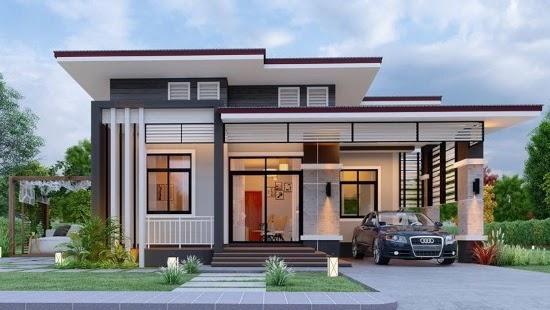 LINGKAR WARNA: 7 Desain Rumah Dengan Garasi Mobil Di Samping Rumah