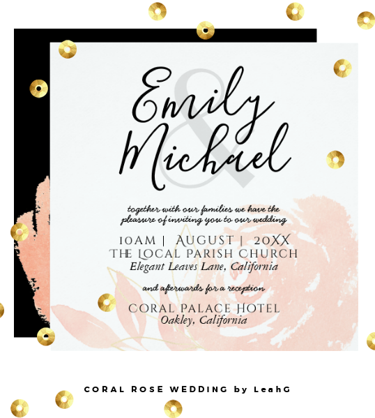 Coral Rose Wedding invitations