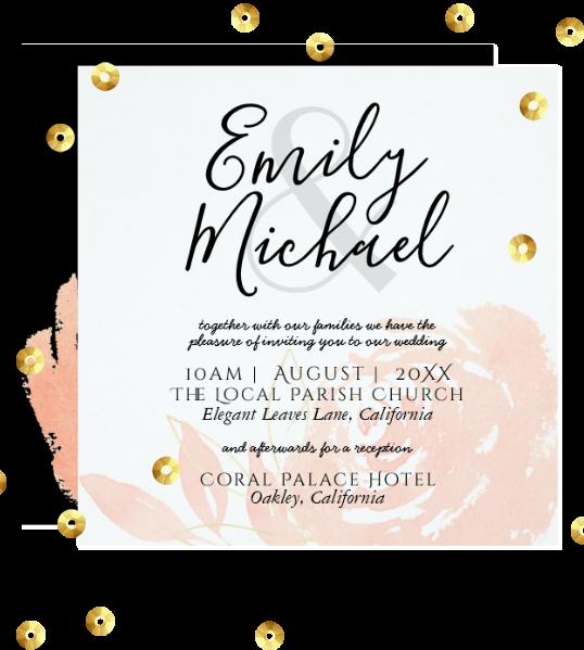 Coral Rose Wedding invitations