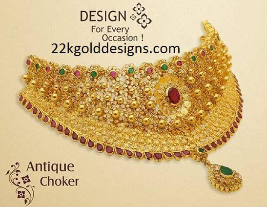 Precious Stones Antique Gold Choker