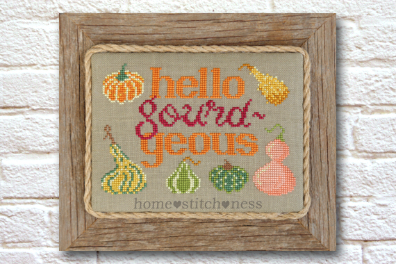 hello gourdgeous fall stitching autumn design decorative gourds cross stitch pattern homestitchness