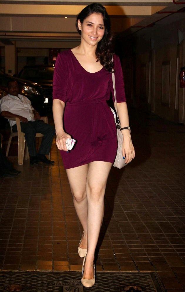 Bollywood Actress Tamanna Bhatia Legs Show In Short Maroon Dress